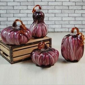 Calabaza de cristal decorativa del modelo de la raya púrpura para el regalo de Halloween