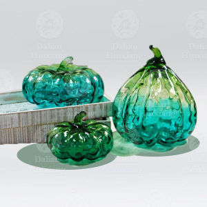 Handblown Artificial Clear Glass Bubble Pumpkins para el regalo de Halloween