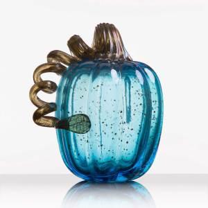 Calabaza de cristal de tamaño transparente azul aqua grande
