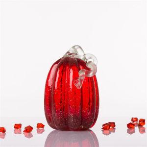 Handblown rojo halloween ornamento calabaza de vidrio