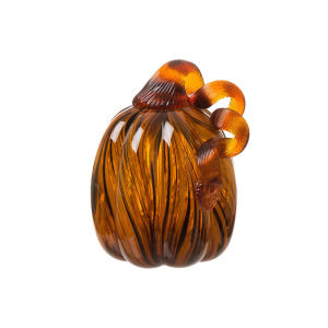 Crafted amber handblown glass pumpkin for  halloween  decoration