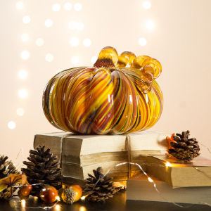 camouflage color glass pumpkin with stem for harvest  decorating