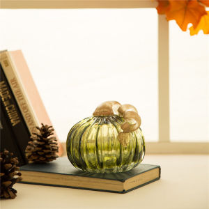 decorative aqua green lucid glass pumpkin