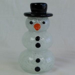Estatuillas de cristal al por mayor del muñeco de nieve de la Navidad blanca del vajilla soplado a mano