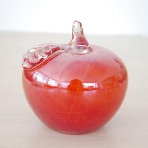 Pequeño Handblown decorativos Red Christmas Gift Glass Apple