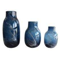 Dusty White Art Glass Flower Bud Jar Home Decorative Centerpiece Hand Blown Vase