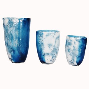 Navy Blue &White Sea Foam Vase-Hand-Blown  Glass