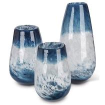 Ocean Blue Art Glass Vase