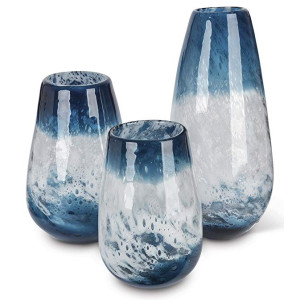 Ocean Blue Art Glass Vase