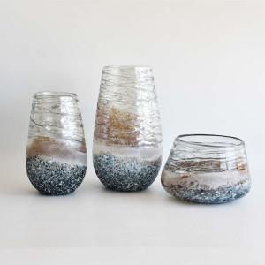 Frosted Grey Glass Decorative Teardrop Vase