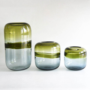 Horzons Oliver Green & Grey Striped Hand Blown Glass Vase