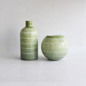Green Cut Jug Glass Vase