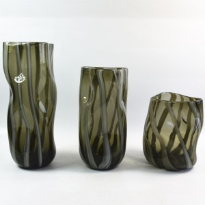 Hand Blown Glass Olive Green Vases White  Stripes Distortion of Twisted Cylinder Glass Vase