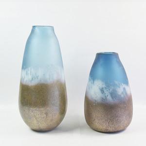 Whole House Worlds The Beach Chic Ocean blue  Hurricane  Artisanal Glass Vase