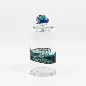 Blown Large Clear & Blue Glass Vase