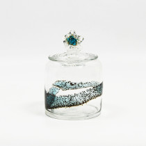 Small Clear & Blue Glass Vase Decor