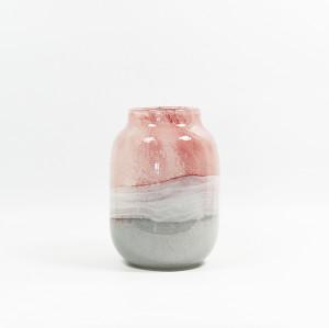 Pink White & Grey Art Glass Vase