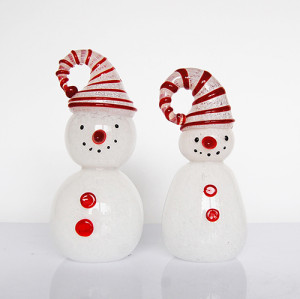 Snowman Decor Glass Sculpture