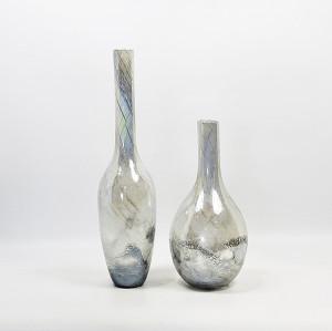 Silver Long-necked Glass Art Vase