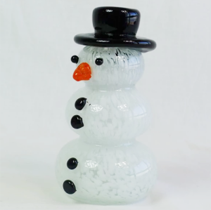 Wholesale Hand-blown Tableware White Christmas  Glass Snowman Figurines