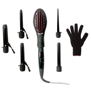 Professional hair styling irons--- 6 in 1 hair curler with 1 brush head and 5 curler barrels curling iron