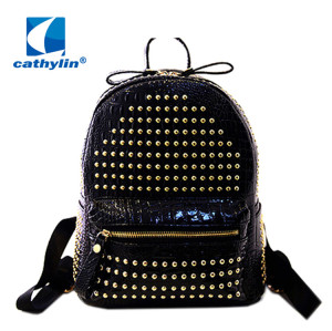 Women PU leather new fashion school punk backpack