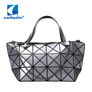 Women's Fashion Geometric Diamond Lattice Tote Glossy ABS Shoulder Bag Top-handle Handbags