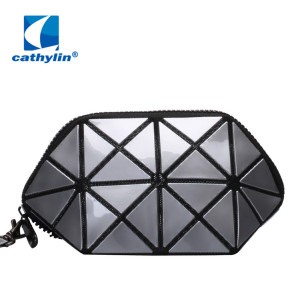 Fashion Durable Geometric Design PU Leather Cosmetic Bags Makeup Bag Wristlet Purse Clutch Bag