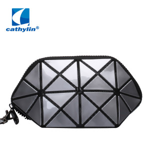 Fashion Durable Geometric Design PU Leather Cosmetic Bags Makeup Bag Wristlet Purse Clutch Bag