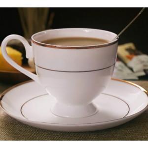 Bone china coffee cup, gold-plated edge