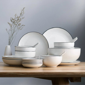 盘子,家用陶瓷创意圆形韩国餐具套装