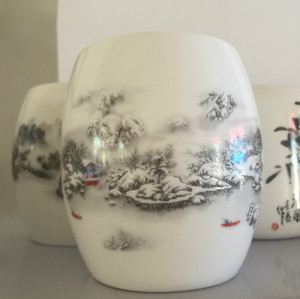 Bone china snow pen container
