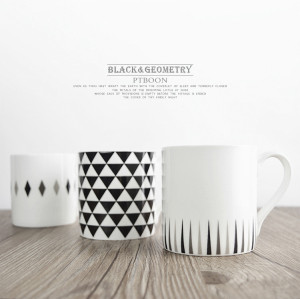 Black geometric bone china mug