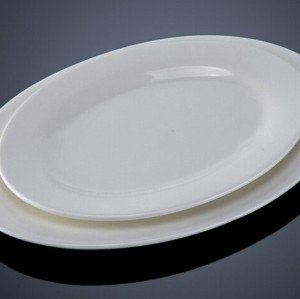 White ceramic oval fish plate for restaurant