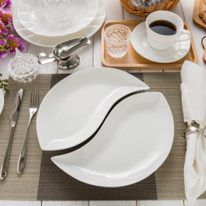 Pure white bone china shaped dishes