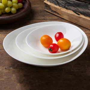Pure white bone china oval dishes