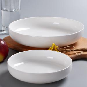 Pure white creative ceramic deep dish