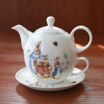 cute bone china single cup pot