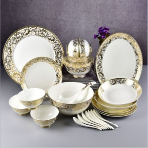28 pieces of embossed gold ceramics