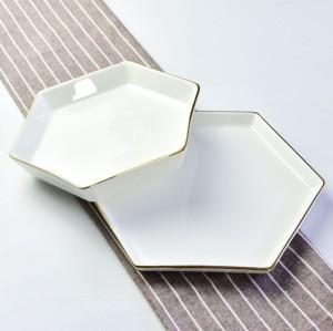 Hexagonal ceramic rice plate