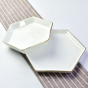 Hexagonal ceramic rice plate