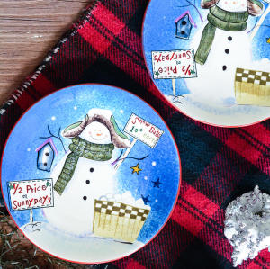 Christmas hand-painted plates