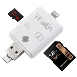 YiKaiEn iReader USB SDHC SDXC Micro SD OTG Card Reader Support Photo Scrolling Through and Thumbnail Pictures For IOS iPhone iPad & MAC PC Max Support 128G Micro SD Card