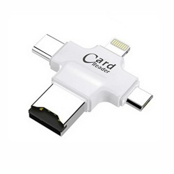 USB Card Reader, 4 in 1 Memory Card Reader USB 2.0 Multi Function USB Connector Support TF Cards for iPhone, iPad,Mac, PC,Android(White)