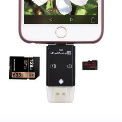 YiKaiEn 3 in 1 SDHC SDXC Micro SD CardReader USB Adapter With Lightning Connector External Storage MemoryExpansion for iPhone/iPad/Android phones/Mac/PC (Black)