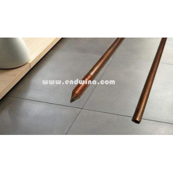 Copper clad one pointed and one threaded ground rod of earthing material
