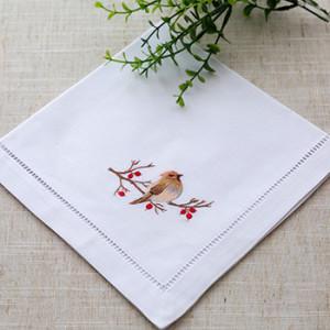 Home textile elegant embroidery banquet cotton linen napkins