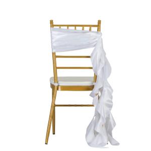 Outdoor lawn wedding decoration crinkle taffeta chair sashes