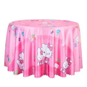 Theme decoration cartoon animal prints cloth with a thick satin round tablecloth children's birthday party