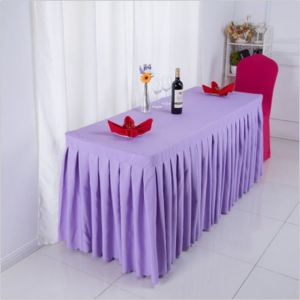 High quality wedding hotel tablecloth polyester table cloth with skirt